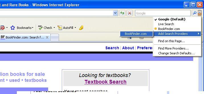 BookFinder opensearch IE